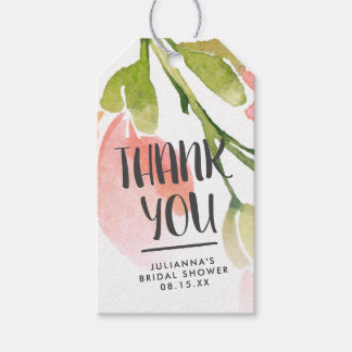 Etiqueta Para Presente Obrigado personalizado da aguarela flores frescas