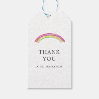 Etiqueta Para Presente Obrigado personalizado do arco-íris da aguarela
