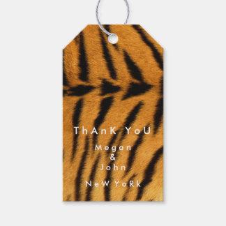 Etiqueta Para Presente Obrigado preto do nome do tigre da pele de Brown