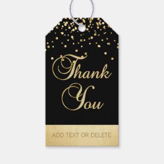 Etiqueta Para Presente OBRIGADO preto personalizado dos confetes do ouro