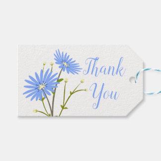 Etiqueta Para Presente Obrigado que azul floral das margaridas da