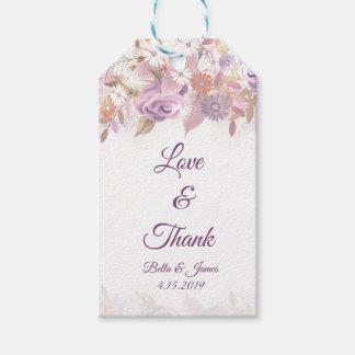Etiqueta Para Presente Obrigado que floral empoeirado do casamento do