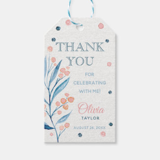 Floral Watercolor Thank You Tag, Blue, Pink