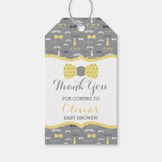 Etiqueta Para Presente Obrigado que pequeno você etiqueta, amarela, cinza