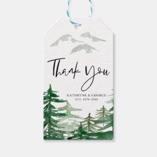 Etiqueta Para Presente Obrigado romântico da floresta da aguarela você