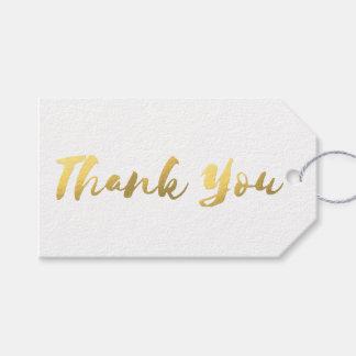 Etiqueta Para Presente Obrigado simples da folha de ouro do branco e do