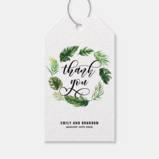 Etiqueta Para Presente Obrigado tropical da grinalda das folhas da