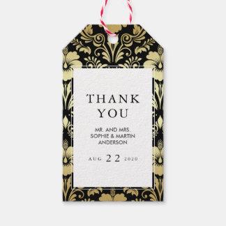 Etiqueta Para Presente Obrigado tropical elegante do damasco | do