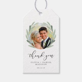 Etiqueta Para Presente Obrigado verde do casamento da grinalda do ramo de