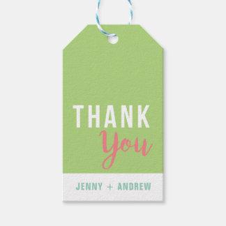 Etiqueta Para Presente Obrigado verde e cor-de-rosa do chá de panela você