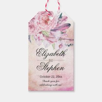 Etiqueta Para Presente Obrigado Wedding você penas florais da aguarela de