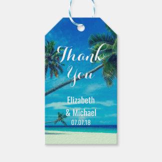 Etiqueta Para Presente Obrigados tropicais do casamento de praia da ilha
