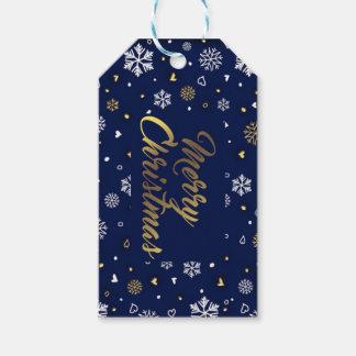 Etiqueta Para Presente Ouro do Feliz Natal & flocos de neve brancos