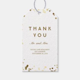 Etiqueta Para Presente Ouro e casamento elegante dos confetes brancos