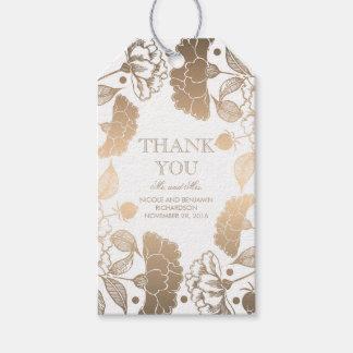 Etiqueta Para Presente Ouro e grinalda floral branca - peônias que