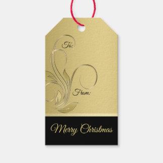 Etiqueta Para Presente Ouro elegante e Tag preto do presente do Natal