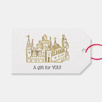 Etiqueta Para Presente Ouro heráldico do falso da crista do castelo #2 do