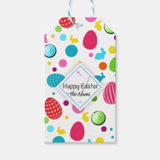Etiqueta Para Presente Ovos da páscoa coloridos, coelhos, monograma dos