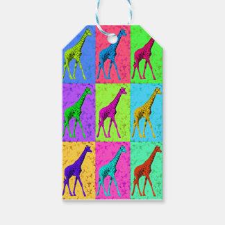 Etiqueta Para Presente Painéis de passeio do girafa do pop art