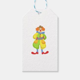 Etiqueta Para Presente Palhaço amigável colorido que joga o acordeão na