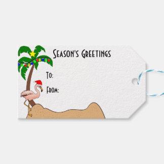 Etiqueta Para Presente Palmeira e Natal tropical dos flamingos