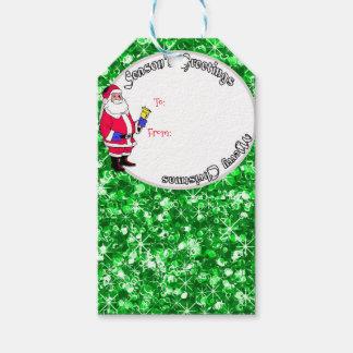 Etiqueta Para Presente Papai noel e baubles sparkly do Natal