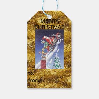 Etiqueta Para Presente Papai noel em um Tag do presente do Natal da