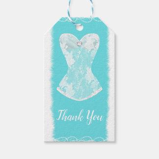 Etiqueta Para Presente Partido Glam azul & branco do Aqua da lingerie de