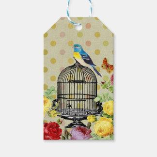 Etiqueta Para Presente pássaro floral, arte, design, bonito, novo, forma