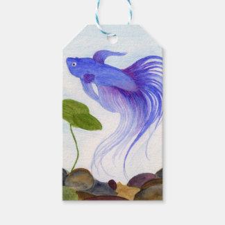 Etiqueta Para Presente Peixes azuis de Betta