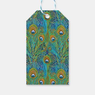 Etiqueta Para Presente Penas do pavão em cores brilhantes