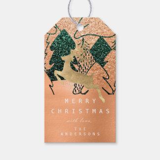Etiqueta Para Presente Pêssego da árvore de Natal da neve do verde do