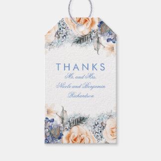 Etiqueta Para Presente Pêssego e casamento elegante das flores do azul
