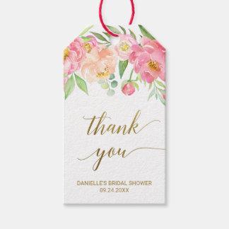 Etiqueta Para Presente Pêssego e obrigado cor-de-rosa das flores da