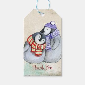 Etiqueta Para Presente Pinguins bonitos no obrigado dos Scarves e dos