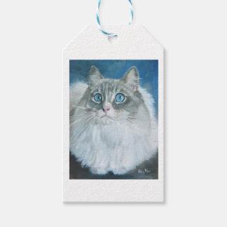 Etiqueta Para Presente Pintura a óleo do gato de Ragdoll pelo Tag do