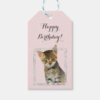 Etiqueta Para Presente Pintura do gatinho com aniversário de mármore do