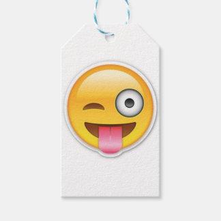 Etiqueta Para Presente Piscar os olhos insolente do emoji do smiley