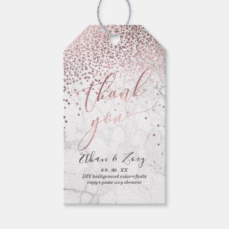 Etiqueta Para Presente PixDezines brilhou o ouro/mármore cor-de-rosa do