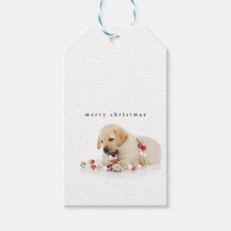 Etiqueta Para Presente Playtime do filhote de cachorro do feriado