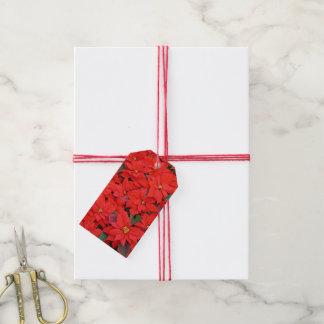 Etiqueta Para Presente Poinsétias vermelhas mim foto floral do feriado do