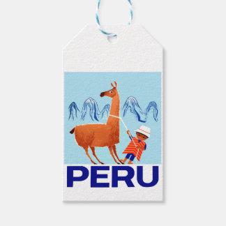 Etiqueta Para Presente Poster de viagens de Peru da criança e do lama do