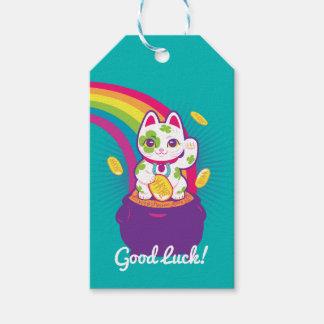 Etiqueta Para Presente Pote de boa sorte de Maneki Neko do gato de ouro