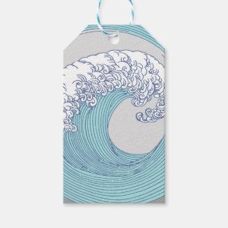 Etiqueta Para Presente Praia azul do oceano do impressão da arte da onda
