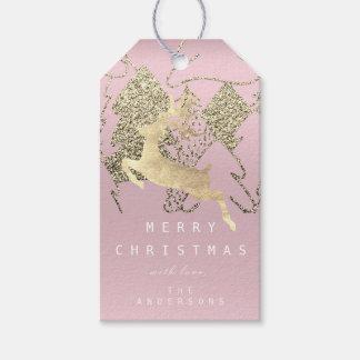 Etiqueta Para Presente Presente à árvore de Natal cor-de-rosa malva do