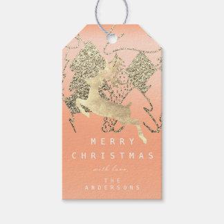 Etiqueta Para Presente Presente à árvore de Natal coral do ouro do