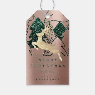 Etiqueta Para Presente Presente a brilhar árvore de Natal cor-de-rosa da
