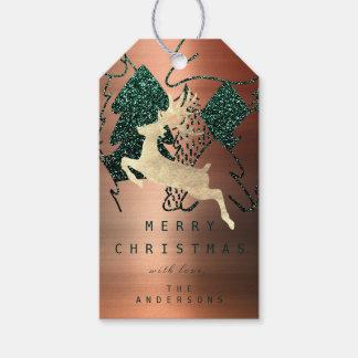 Etiqueta Para Presente Presente a brilhar árvore de Natal de cobre da