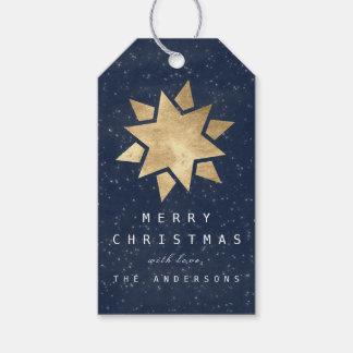 Etiqueta Para Presente Presente alegre do feriado ao marinho do ouro da