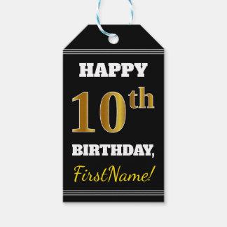 Etiqueta Para Presente Preto, aniversário do ouro do falso 10o + Nome